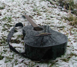 guitar on the snow