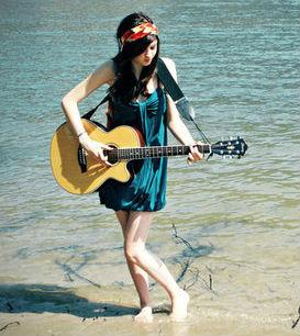 girl with guitar, девушка с гитарой